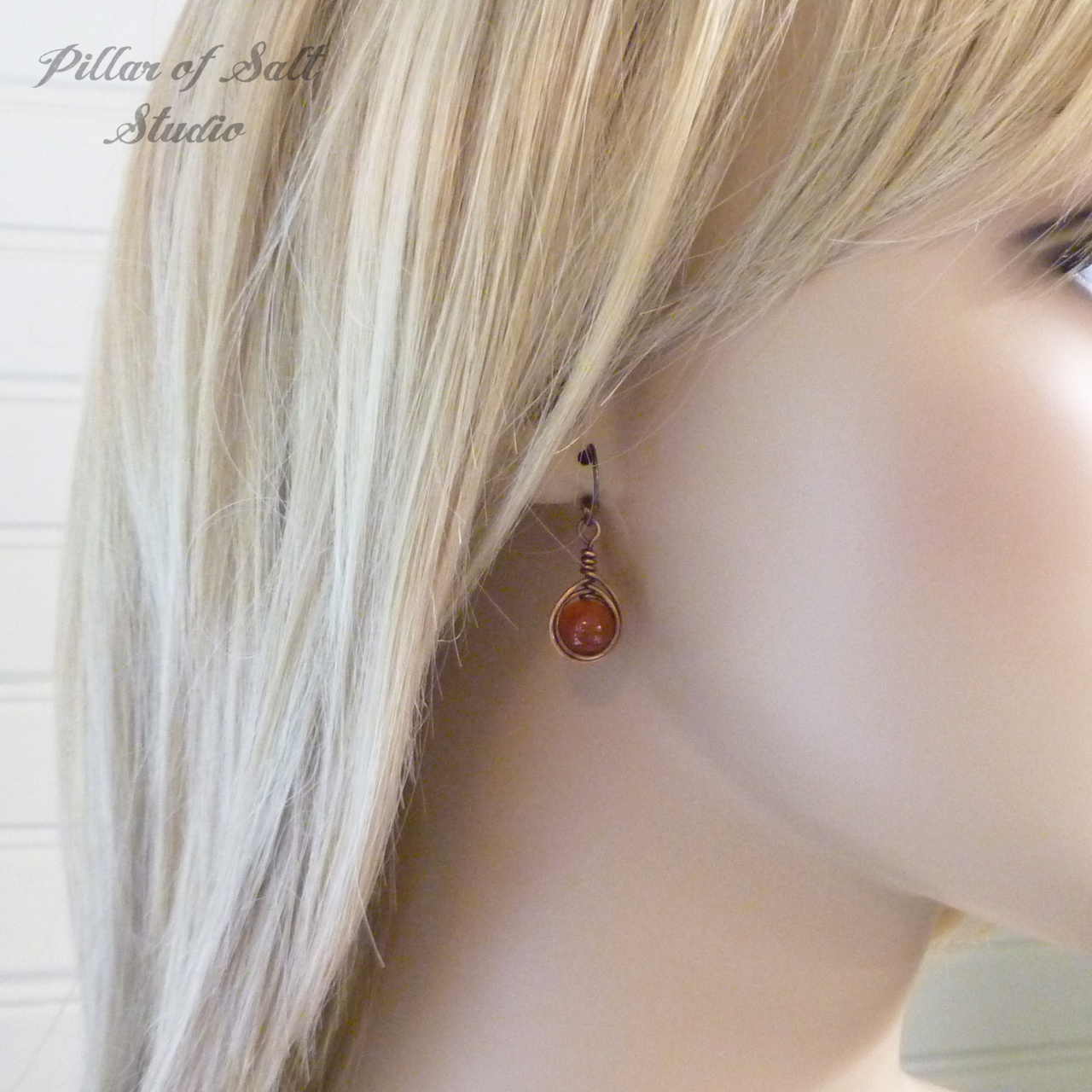 Copper Wire wrapped earrings with Red Carnelian stones / herringbone teardrop wrap