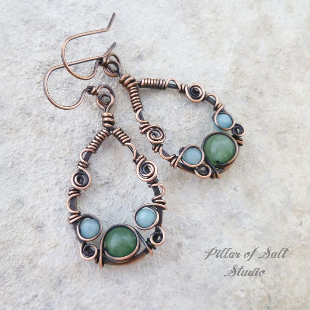 Teardrop Wire wrapped earrings with Amazonite and Green Aventurine ...
