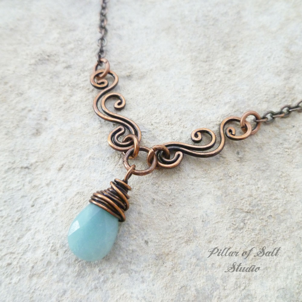 Amazonite Copper Wire Wrapped necklace scrolling V - Pillar of Salt ...