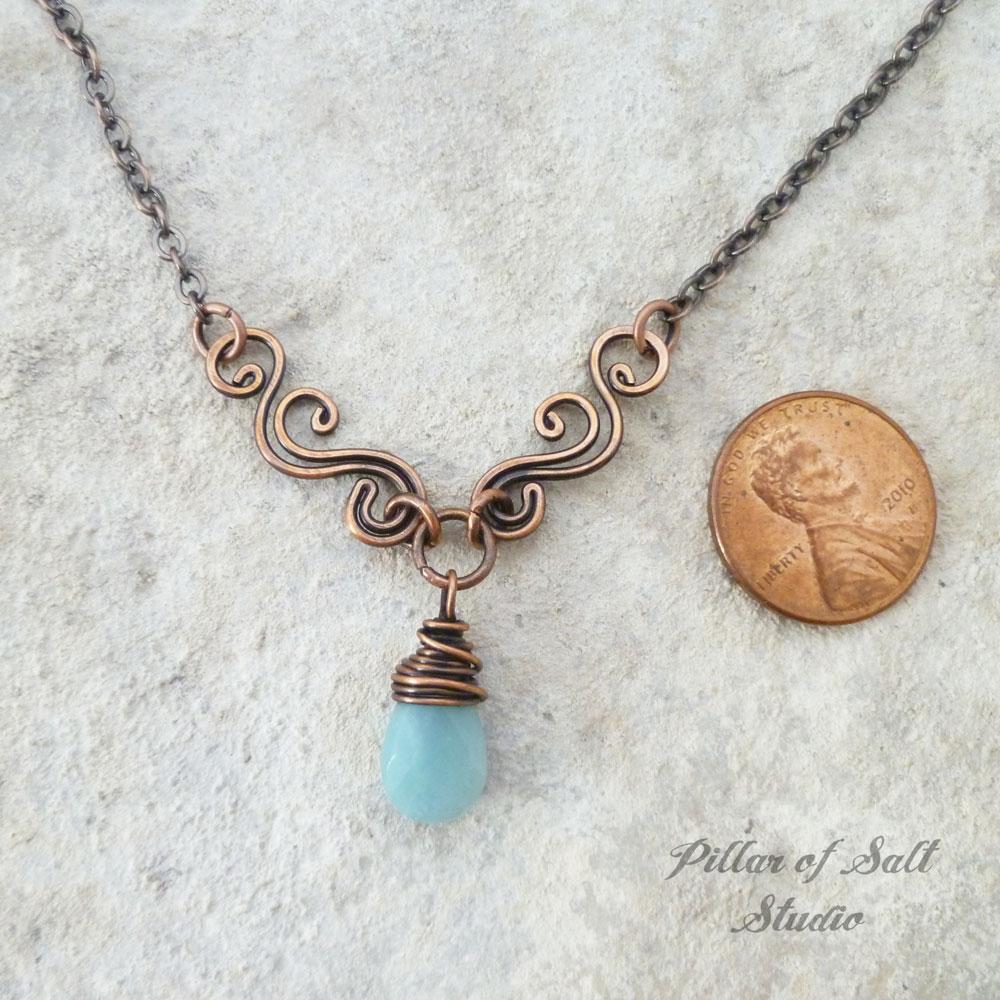 Amazonite gemstone teardrop wire wrapped necklace / Pillar of Salt Studio wire wrapped jewelry