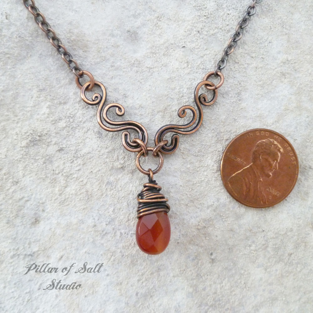 Carnelian Copper Wire Wrapped necklace scrolling V