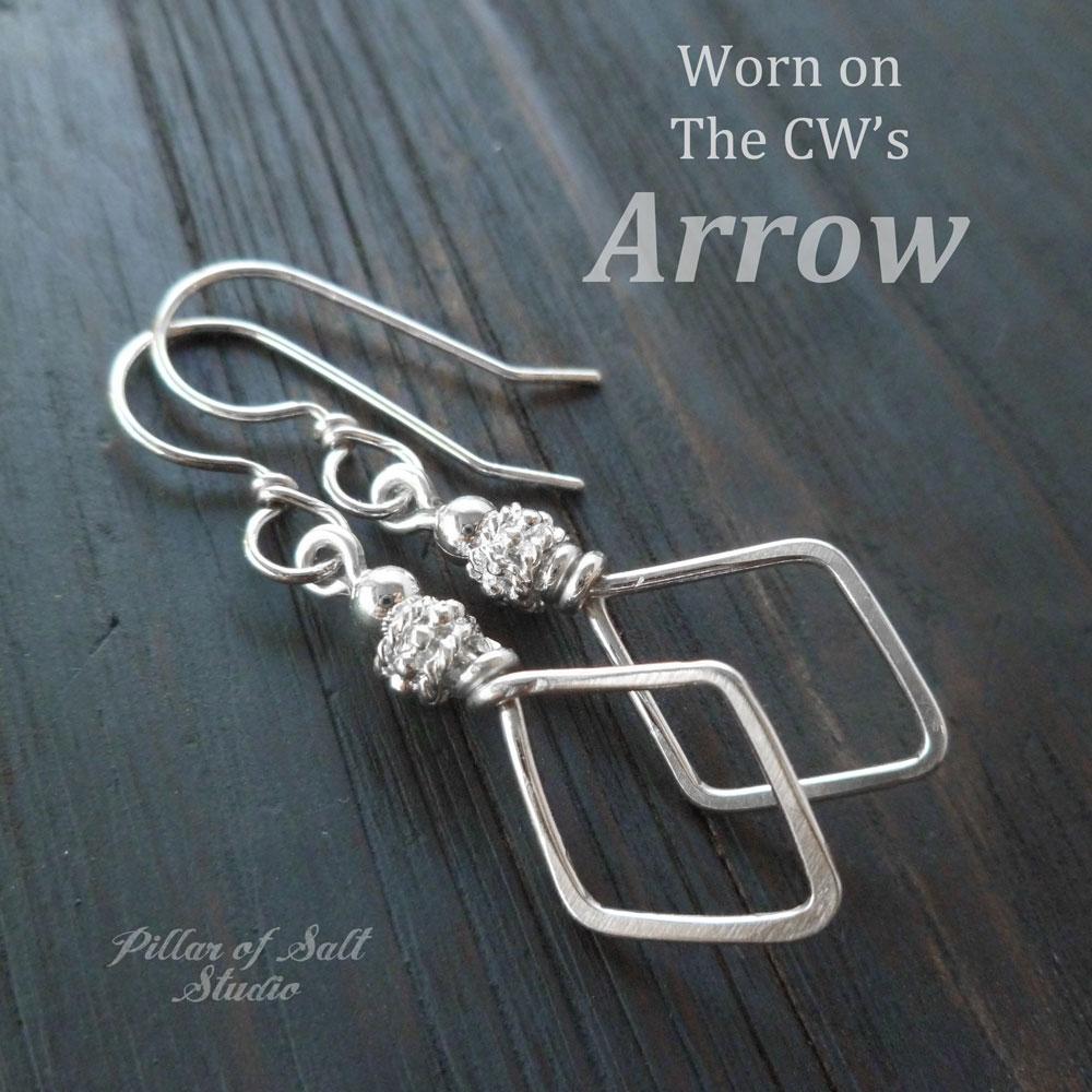 Silver earrings worn on the Arrow Felicity Smoak / Pillar of Salt Studio handcrafted jewelry