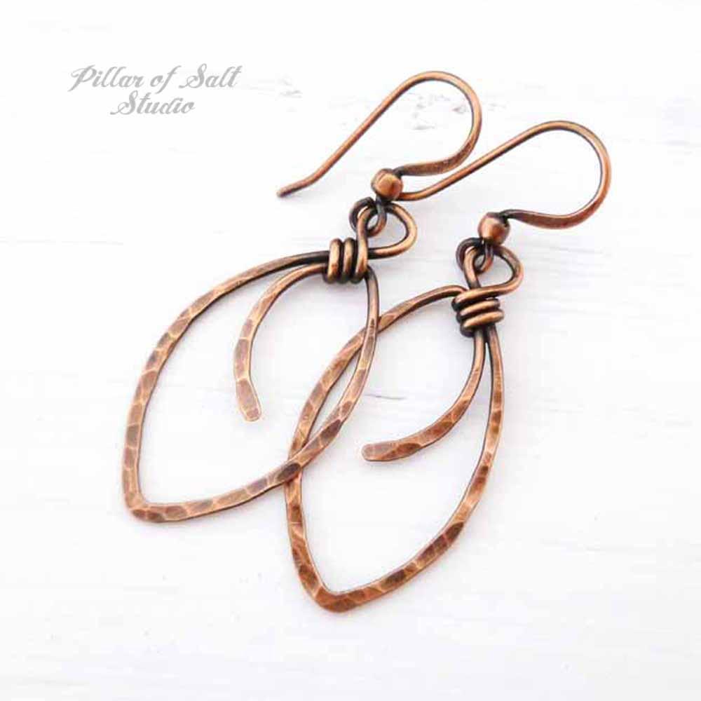hammered copper marquis earrings by Pillar of Salt Studio
