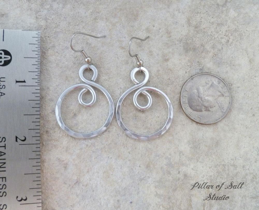 Hammered infinity spiral Aluminum earrings