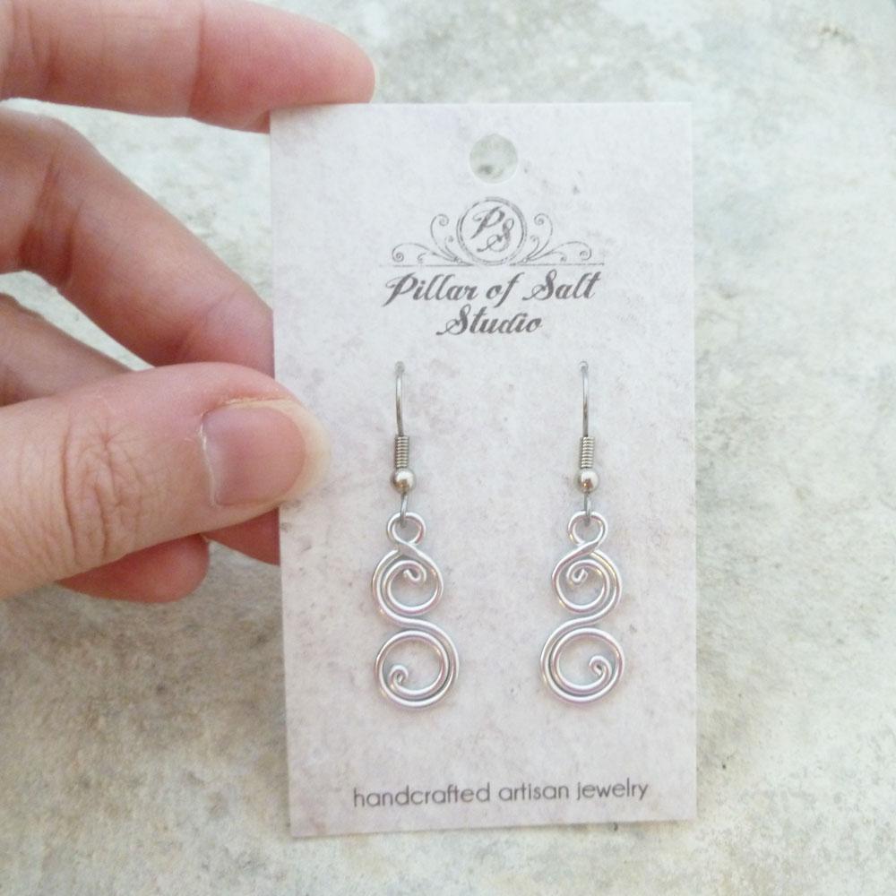 Lighweight aluminum wire wrapped earrings by Pillar of Salt Studio