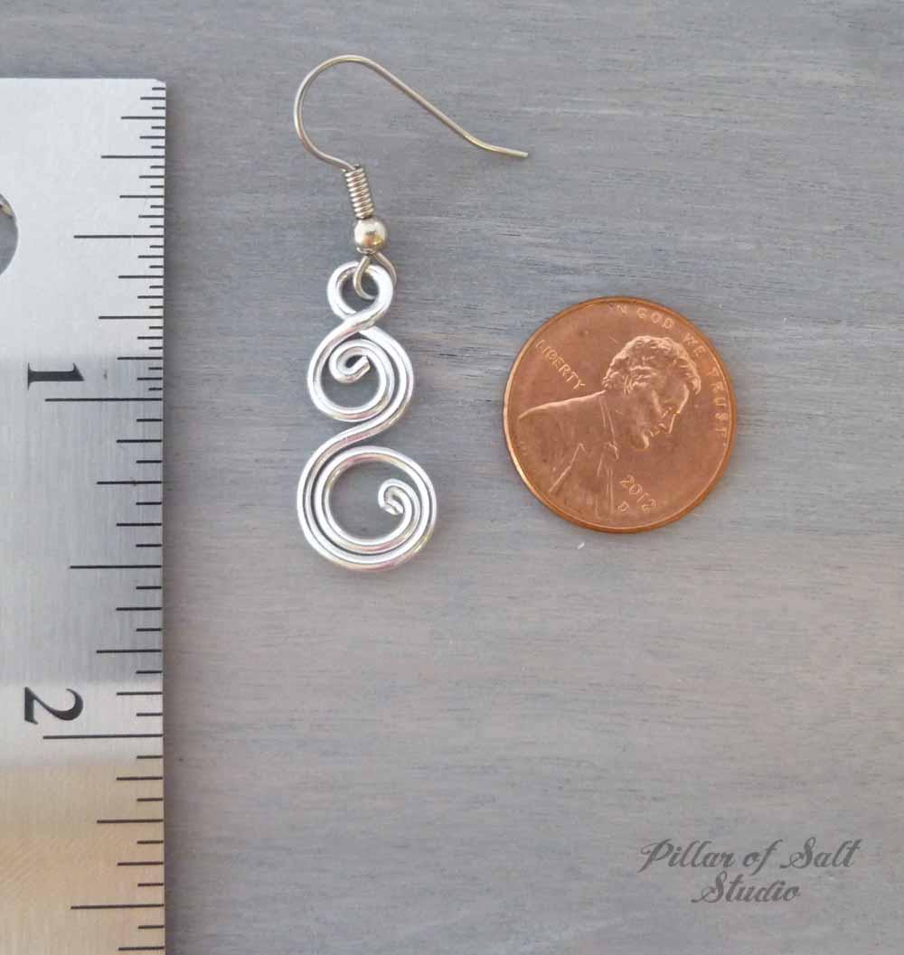 Aluminum earrings double spiral curlique