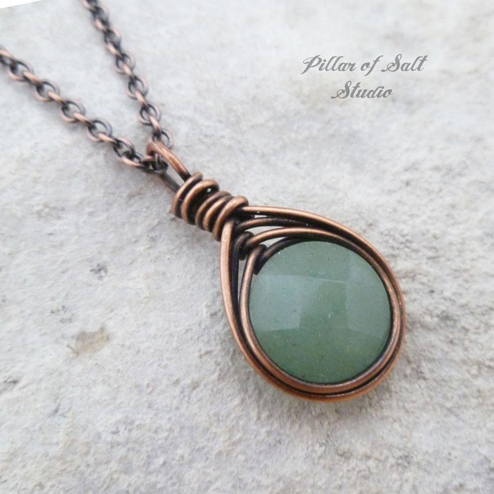 Green Aventurine herringbone wire wrapped pendant copper necklace