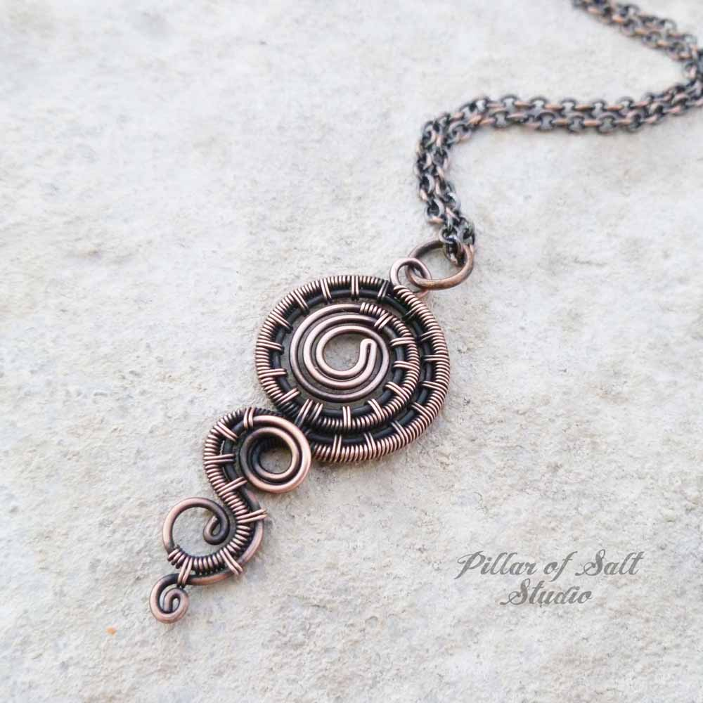 Dripping Spiral wire wrapped pendant necklace - Pillar of Salt ...