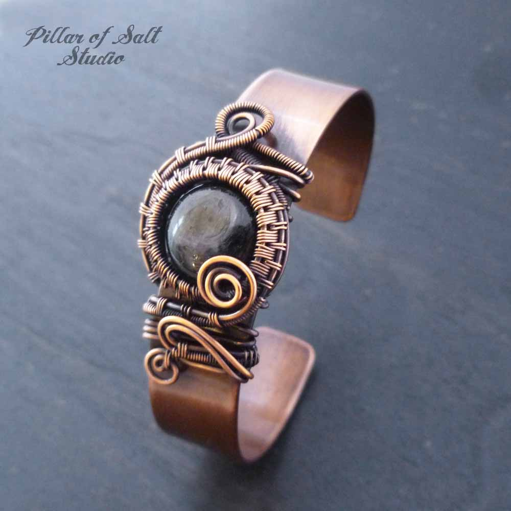Copper wire wrapped Cuff Bracelet with Hypersthene stone