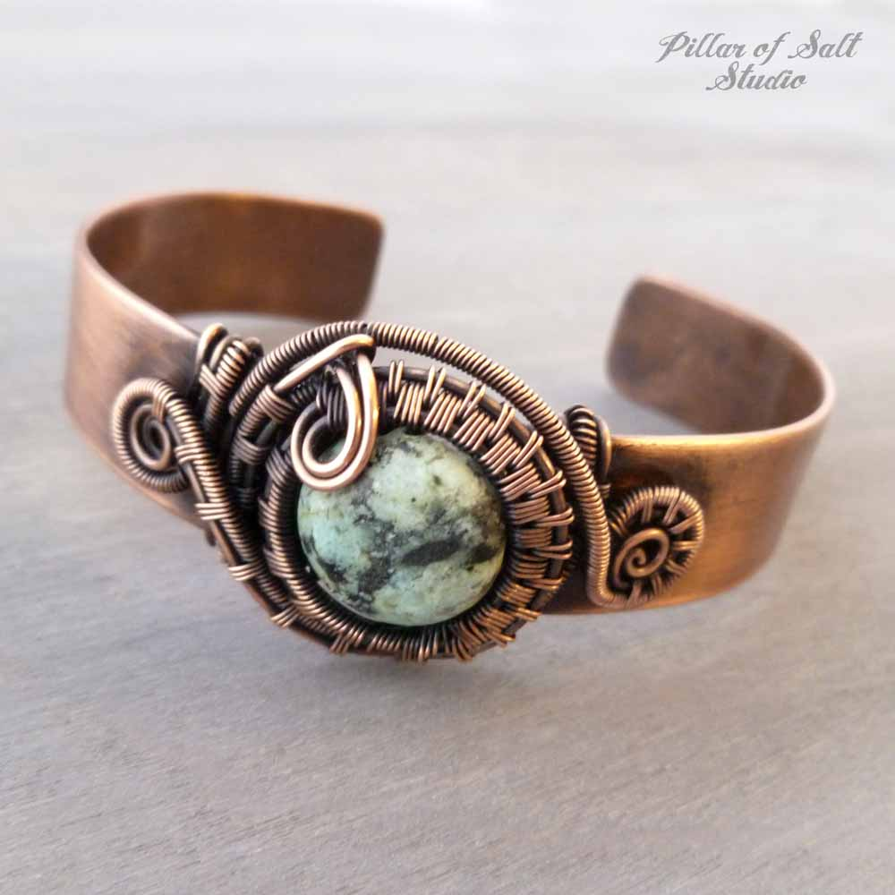 Copper wire wrapped Cuff Bracelet with African Turquoise Jasper