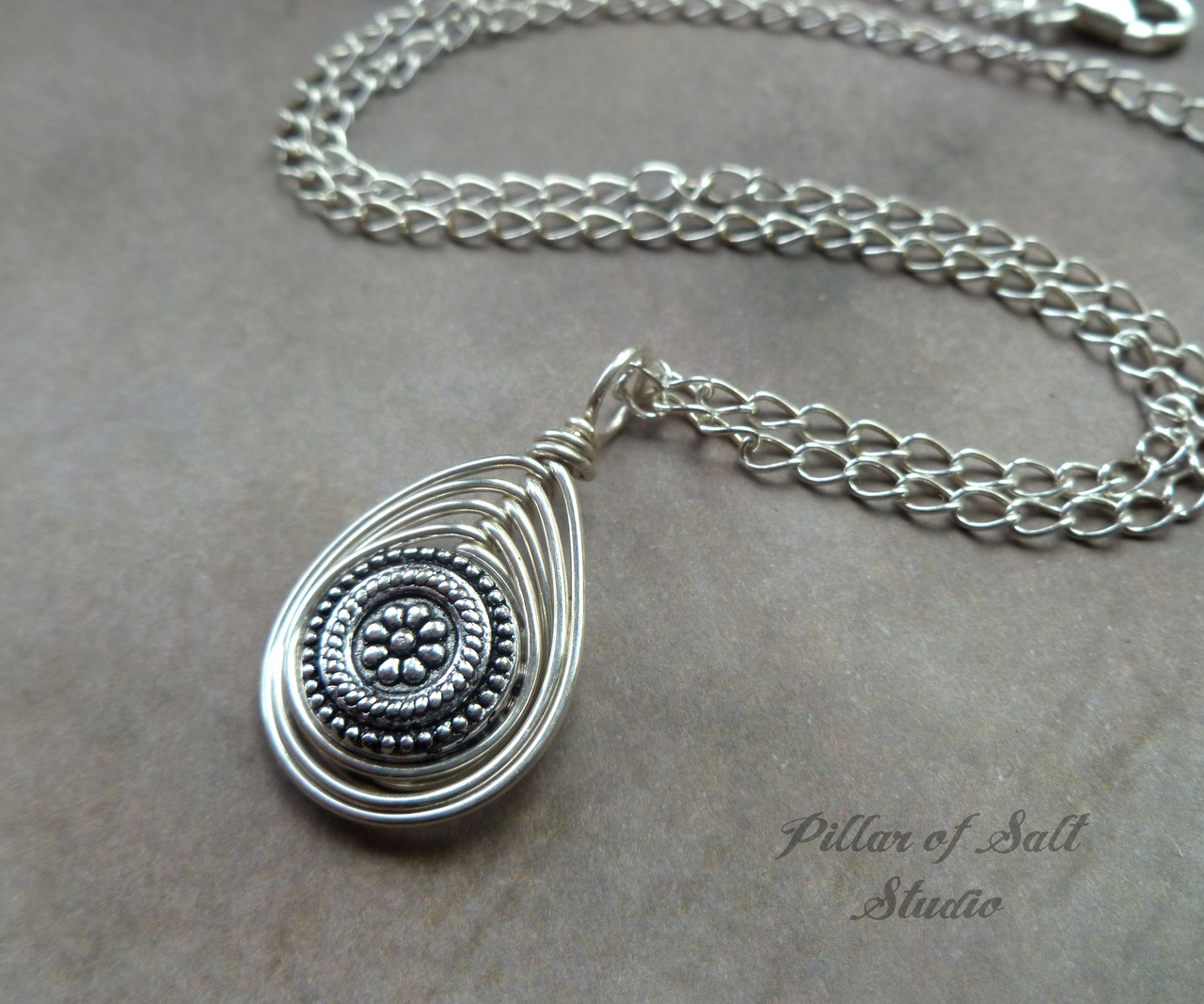 silver wire wrapped pendant as seen on Chicago P.D. by Pillar of Salt Studio