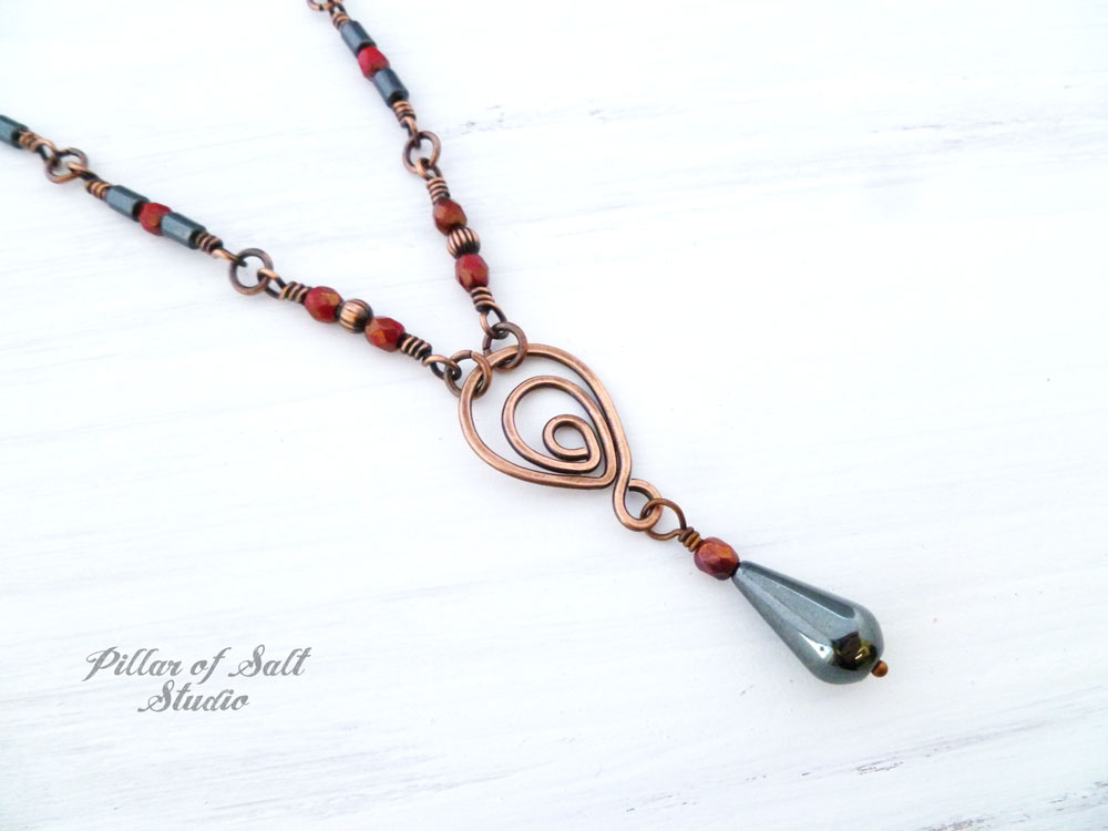 Copper wire wrapped necklace as seen on The Vampire Diaries