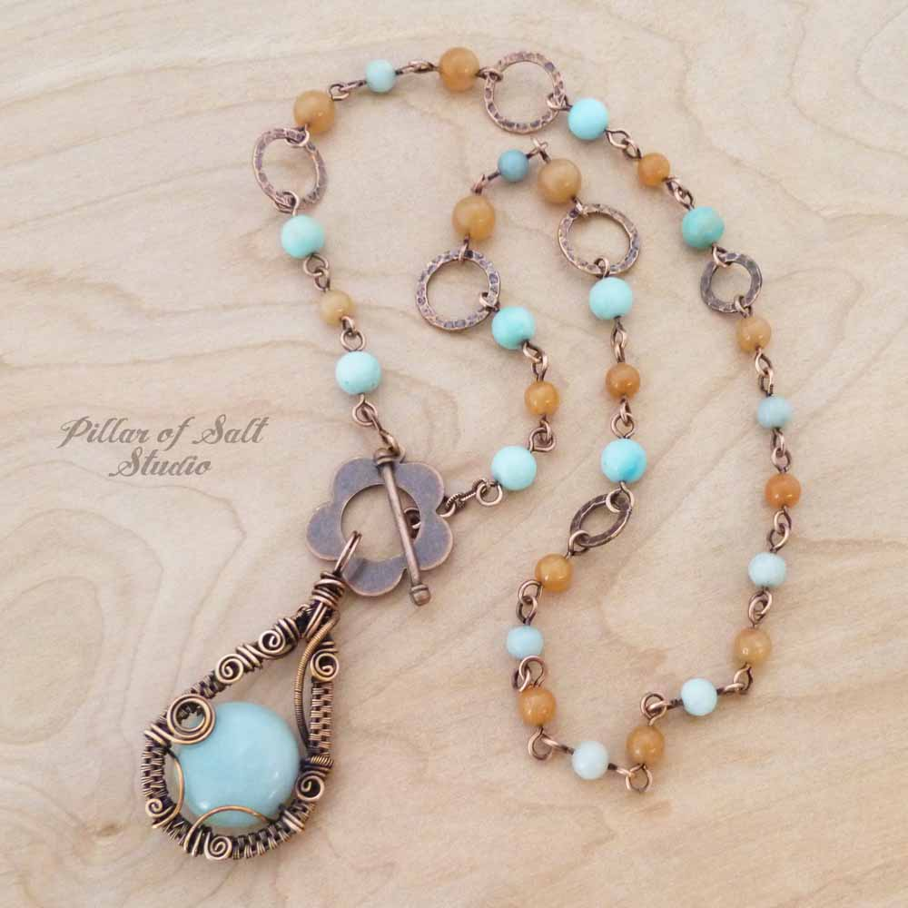 copper wire wrapped necklace worn on TV as seen on Cedar Cove handcrafted by Pillar of Salt Studio