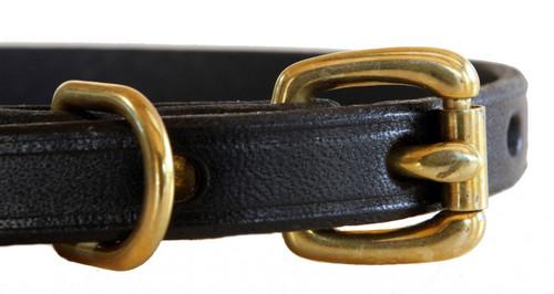 closeup of brass hardware - black leather collar