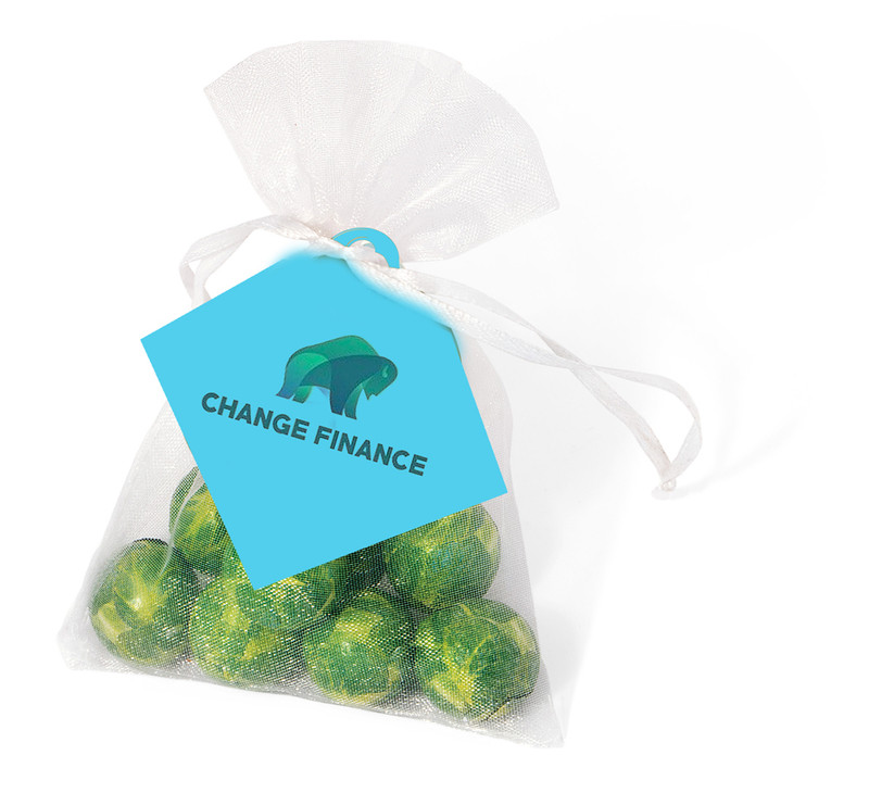Brussels Sprouts Organza Bag With Branded Tag