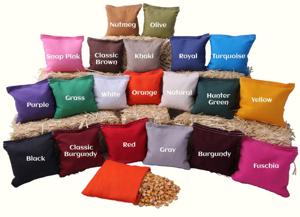 Choose from 20 colors of Cornhole Bags made with duckcloth and whole kernel corn