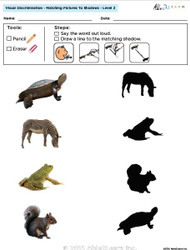Visual Discrimination - Matching Pictures to Shadows - Animals (Lv. 2A)