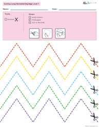 Cutting Ling Zig Zag Horizontal Lines - 5 Pages