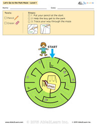 Let's Go to the Park Maze Lv. 1 - 1 Page