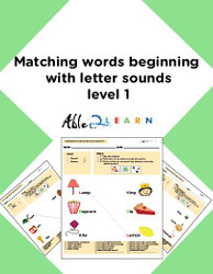Phonics: Matching Words To The Same Sound Level 1: 11  Pages