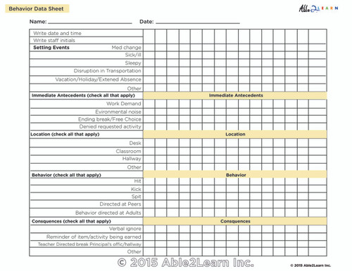 Behavior Data Sheet (ABC) Chart :1 Page