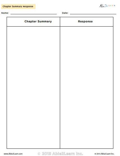 Chapter Summary Response Chart