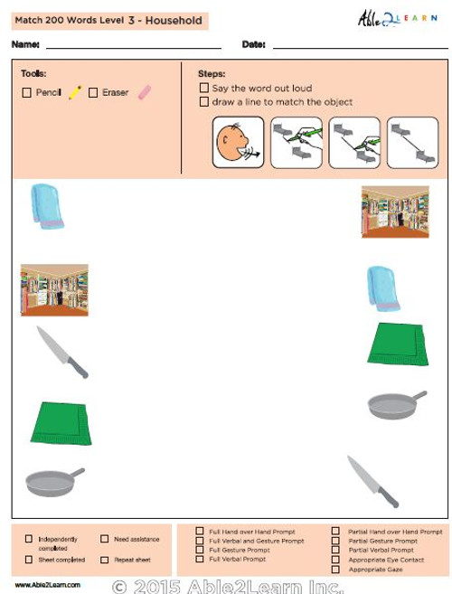 Household Identical Picture  Matching Program with ABLLS-R™ Words (Lv. 3)
