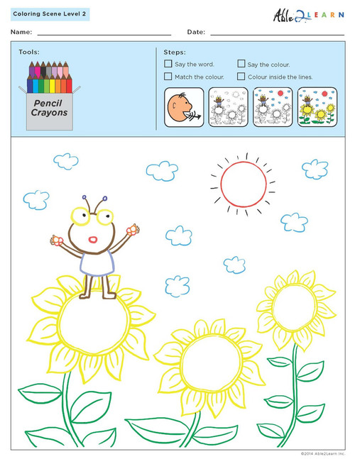 Colouring Sheets:  Scenes: Guided:  Level 2  - Pages 10