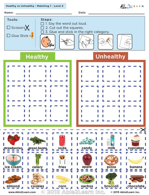 Healthy vs. Unhealthy: The Food Group - Level 2 8 Pages