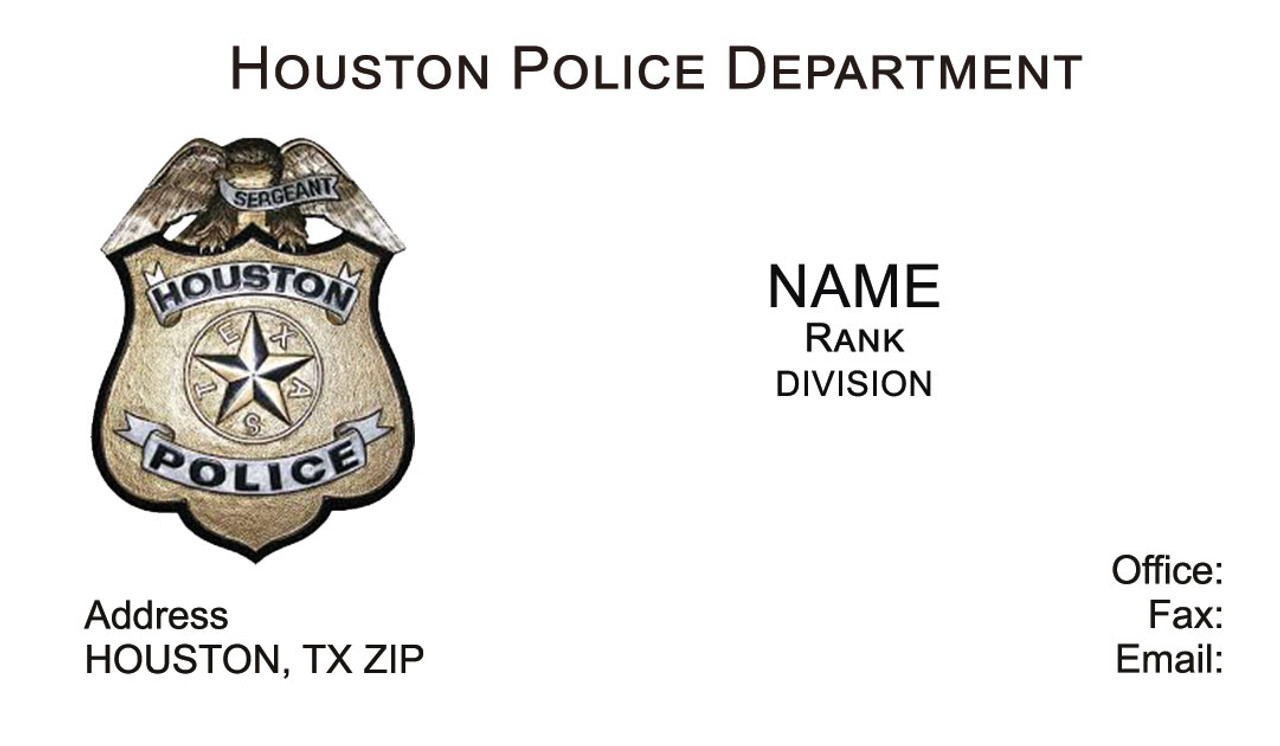Houston Police Department Business Cards