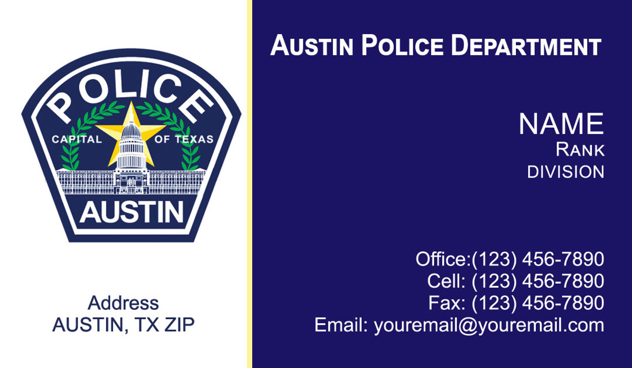 Austin Police Department Business Cards