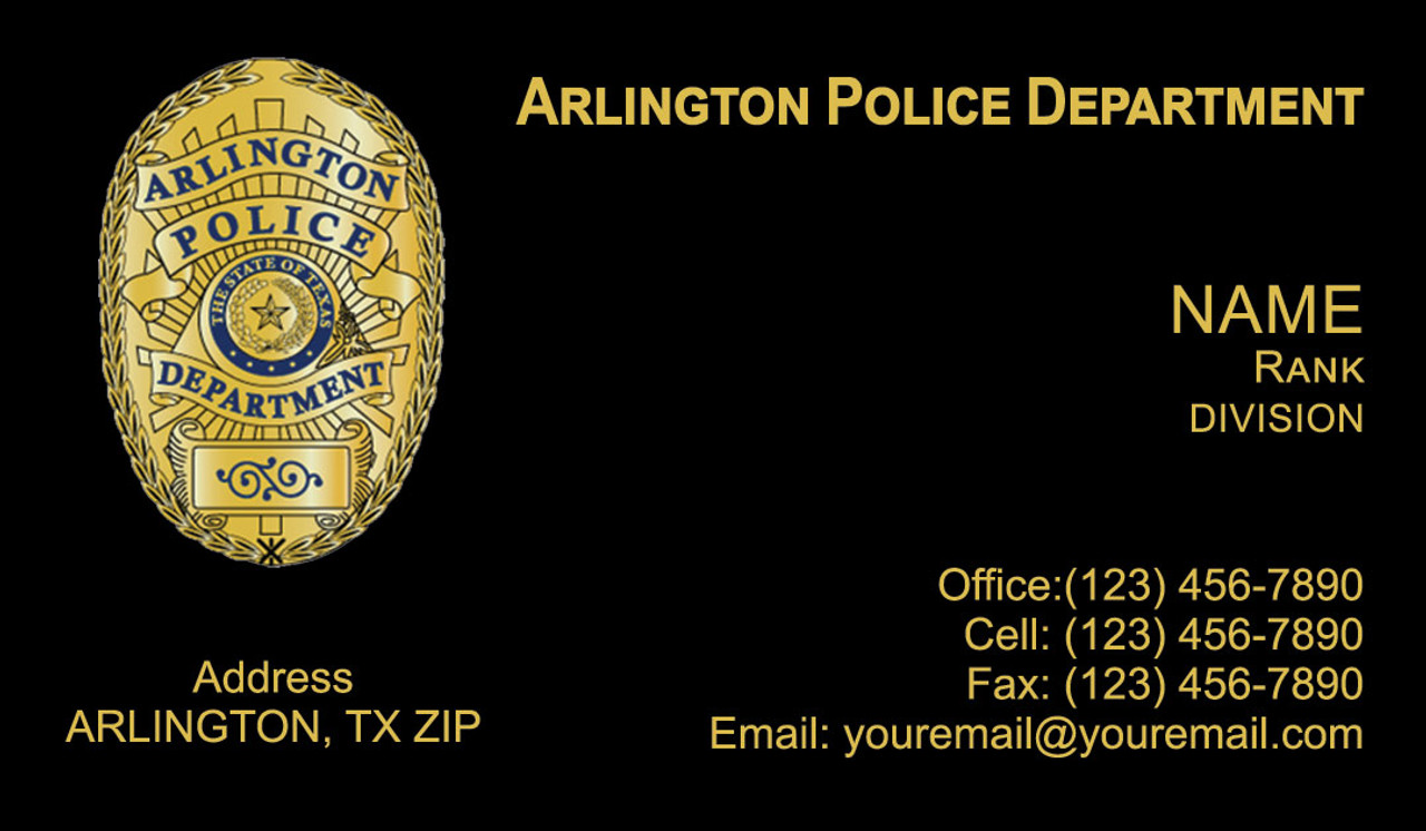 Arlington Police Department Business Cards