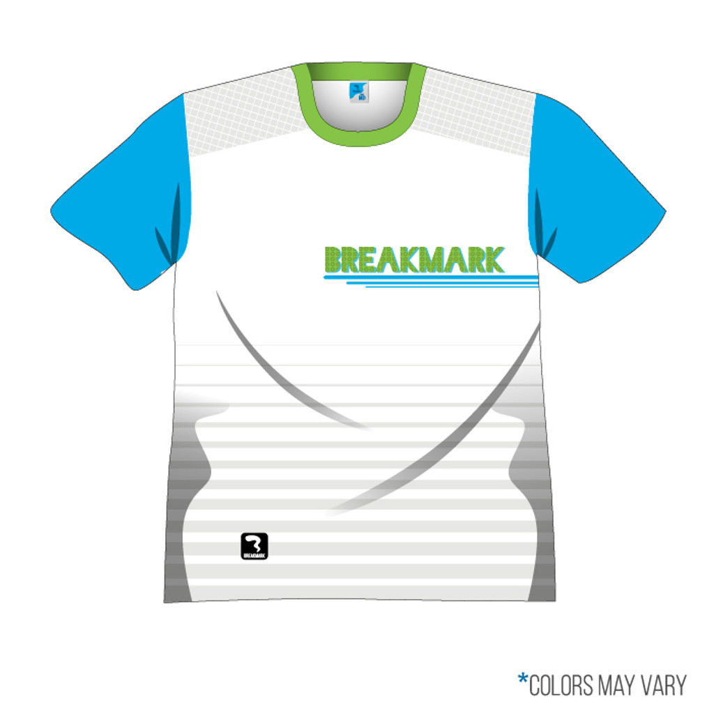 Breakmark Front Panel Short Sleeve Front Light with Electric Blue Sleeves and Lime Collar