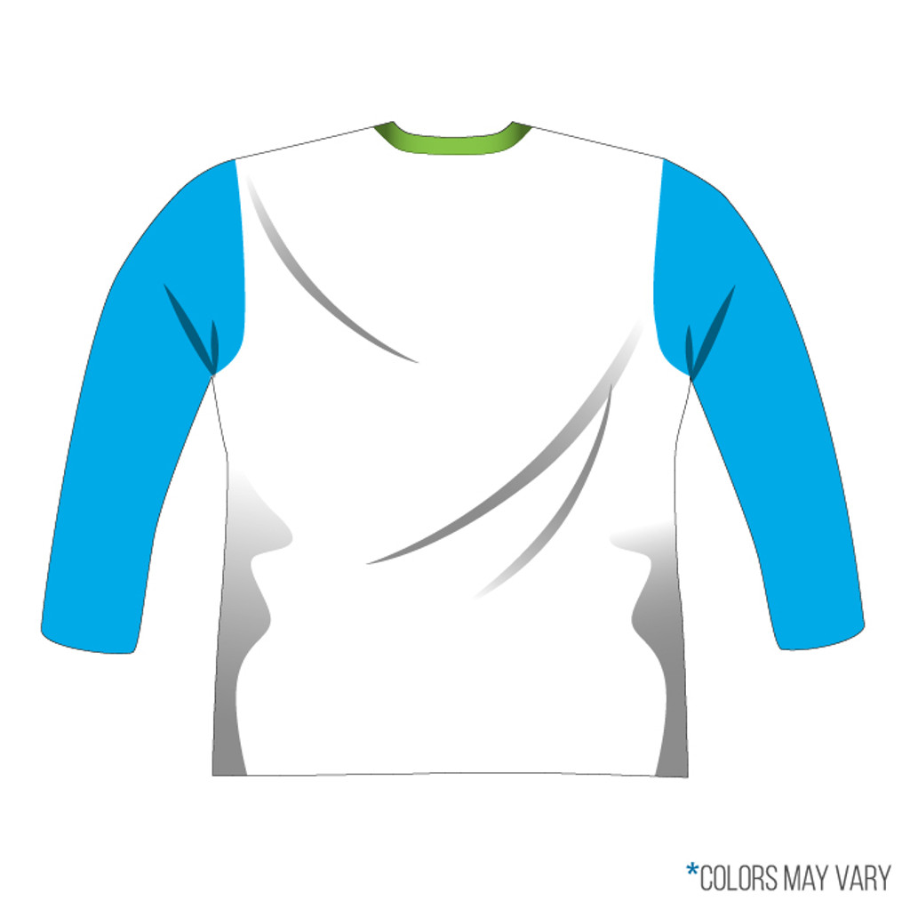 Breakmark Front Panel Long Sleeve Back Light with Electric Blue Sleeves, White Back and Lime Collar