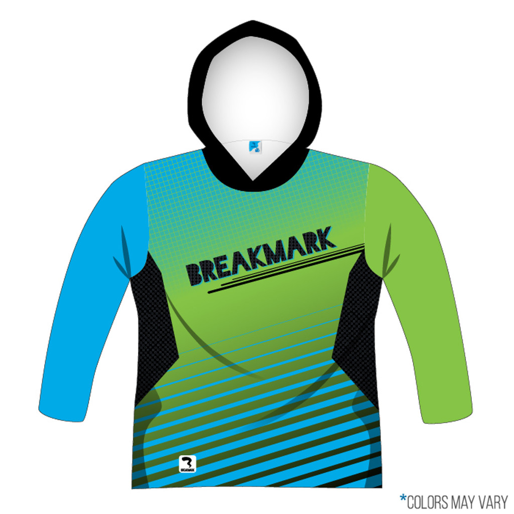 Breakmark Front Panel Long Sleeve Hood Front Dark with Electric Blue Sleeve, Lime Sleeve and Black Hood