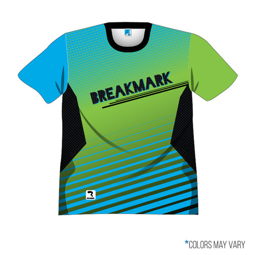 Breakmark Front Panel Short Sleeve Front Dark with Electric Blue Sleeve, Lime Sleeve, Black Collar
