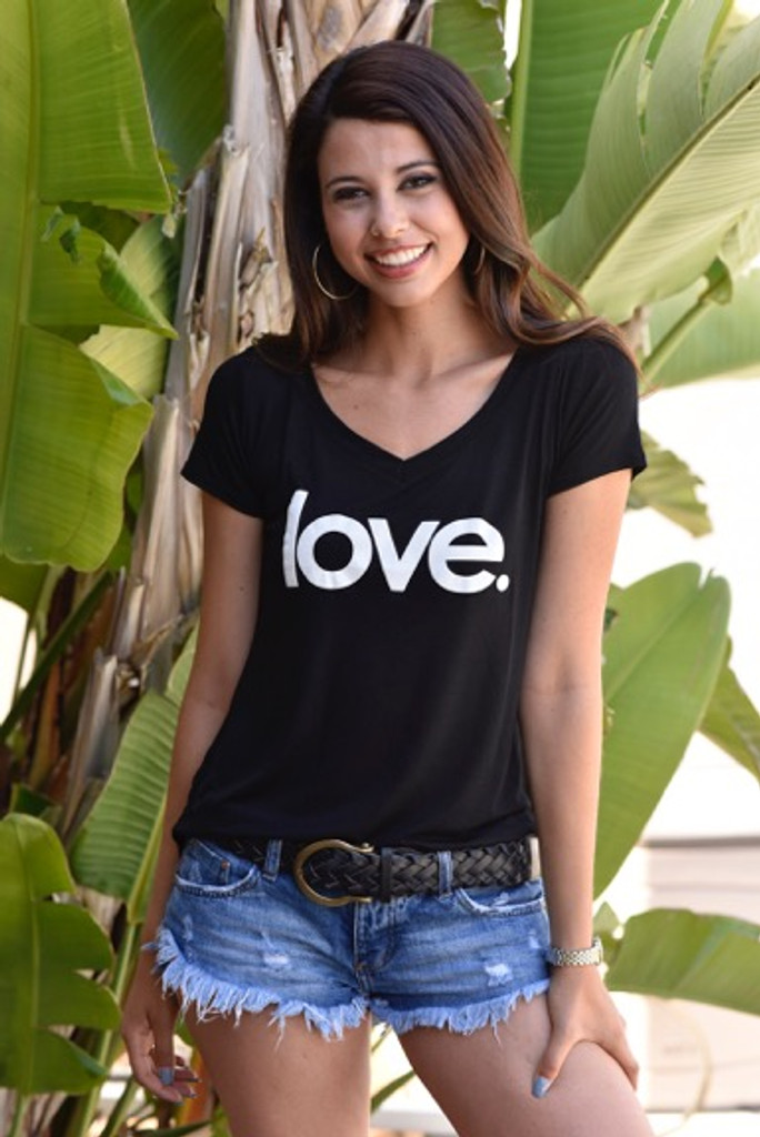 LOVE. S/S V NECK with 3 HEARTS on back.