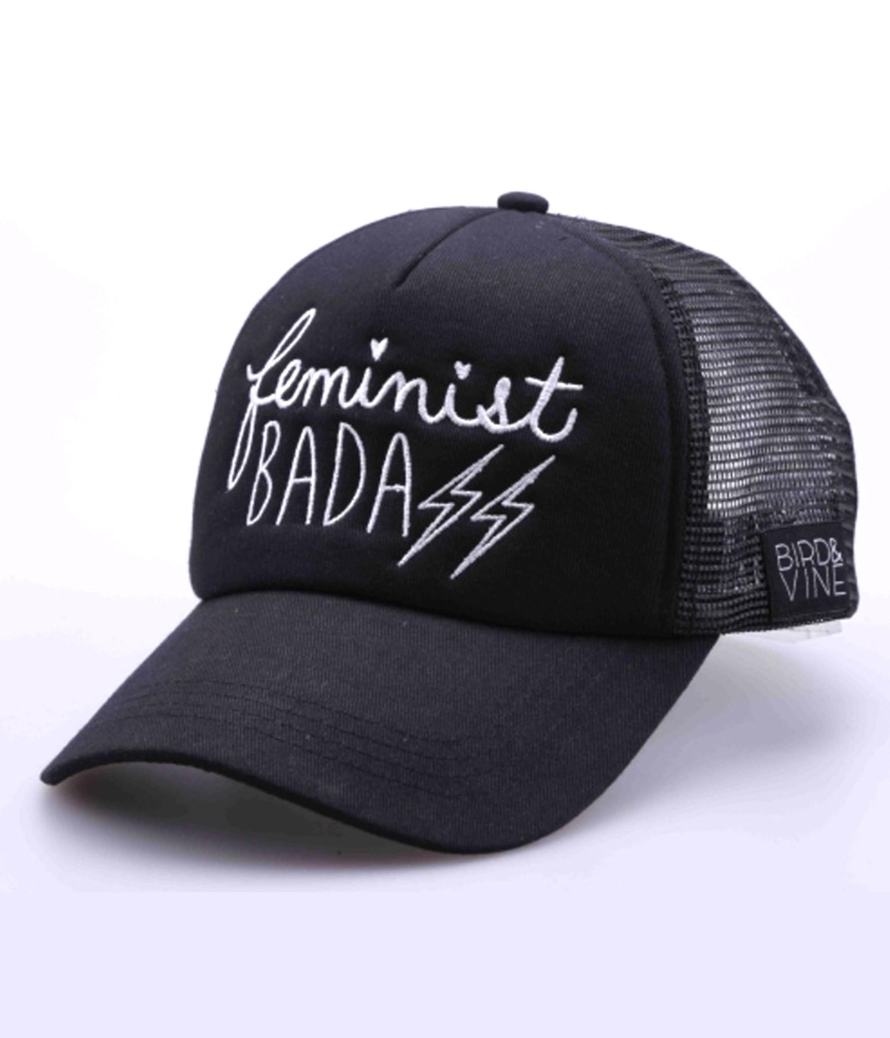 FEMINIST BADASS EMBROIDERED TRUCKER HAT