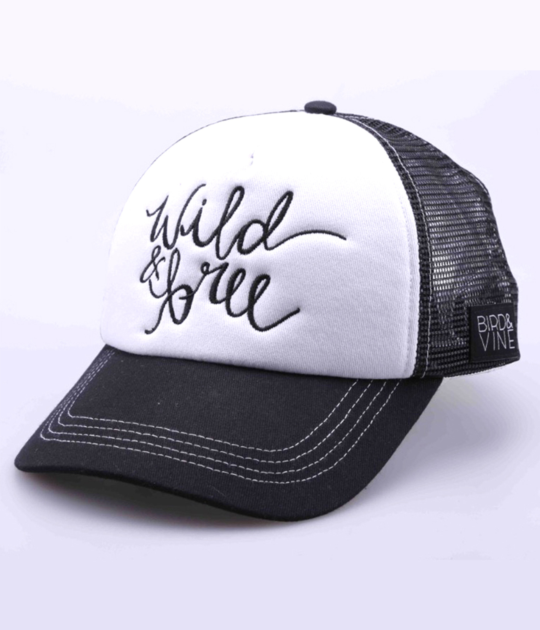 WILD & FREE EMBROIDERED TRUCKER HAT