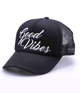 GOOD VIBES EMBROIDERED TRUCKER HAT