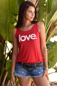 LOVE. TANK with 3 Hearts on back.