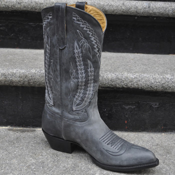 handcrafted gray cowboy boots