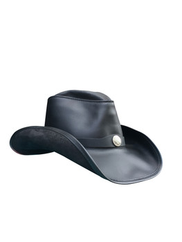 BLACK: American Made Leather Western Hat