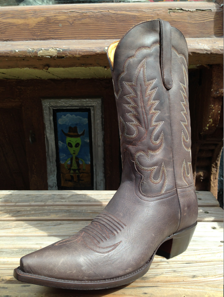 Oil Nu Buck Chocolate Brown Boots Western Space Cowboy