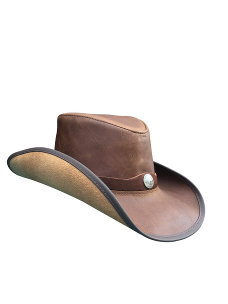 BROWN: American Made Leather Western Hat