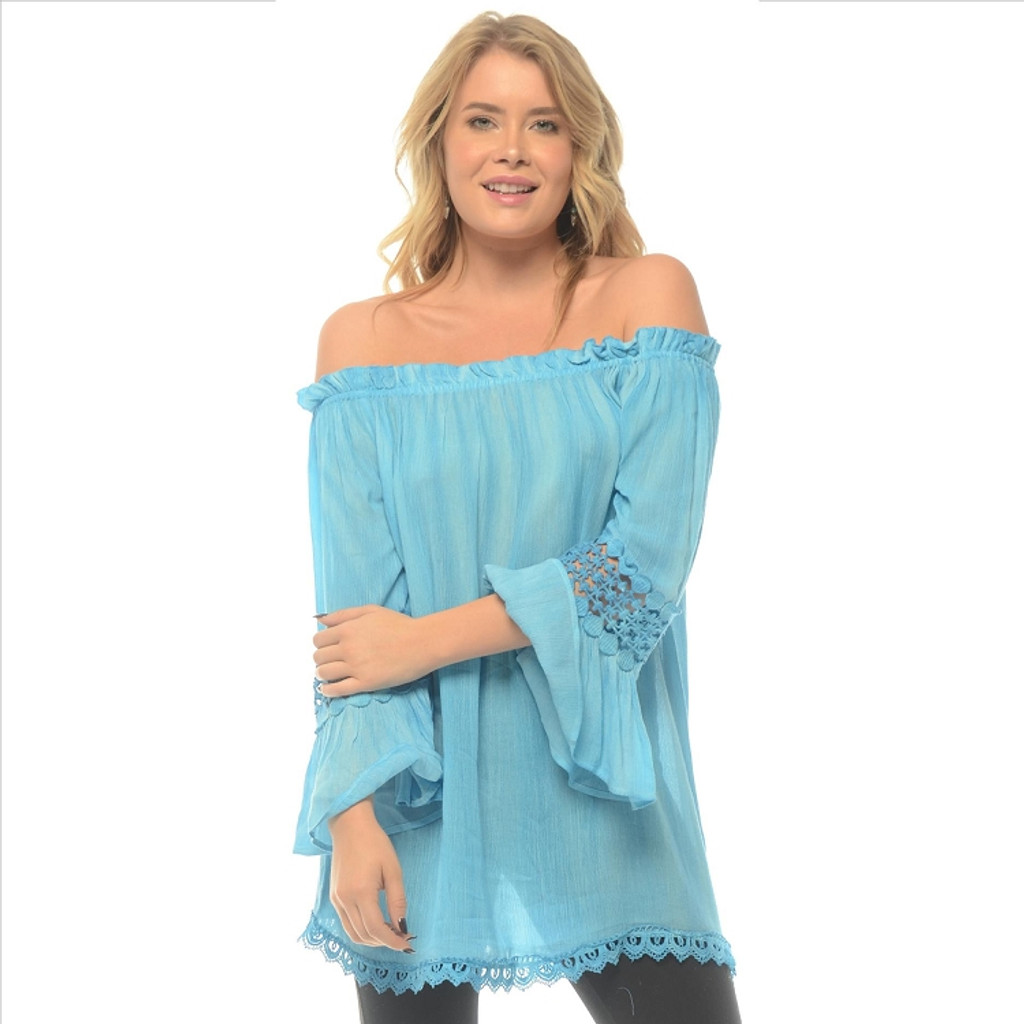 Charming Lace Bell Sleeve Tunic