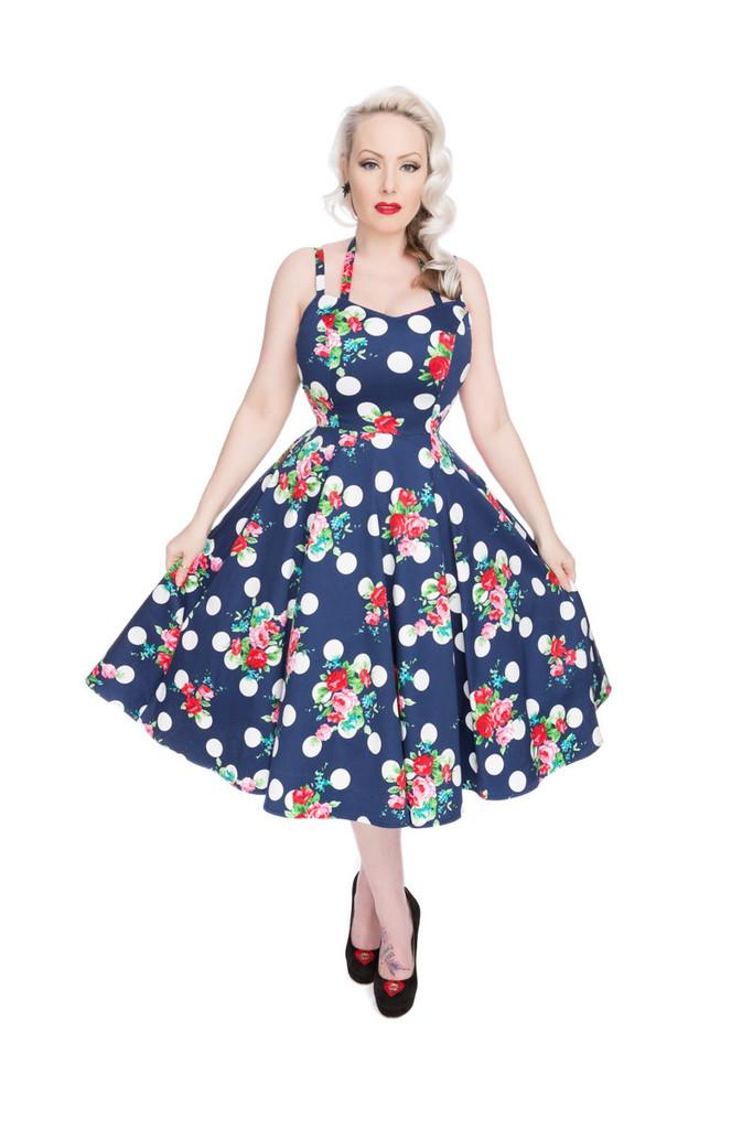 1950s Navy Blue Flower and Polka Vintage Rockabilly Faux Halter Dress