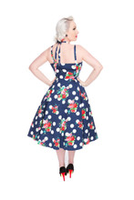 1950s Navy Blue Flower and Polka Vintage Rockabilly Faux Halter Dress