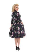 Navy Blue and Pink Floral V Neck Crossover 3/4 Sleeve 1950s Tea Dress - Elizabeth