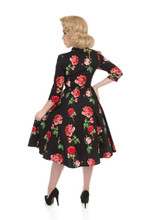 Black and Red Roses  3/4 Sleeve 1950s Tea Dress - Ameila